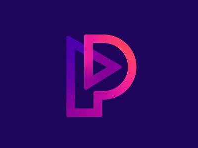 Letter P / Play logos simple logo colorful design modern logos modern logo logo identity colorful logos colorful logo colors lines play triangle letter p letter vector branding design symbol mark logo
