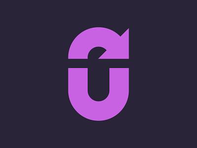 Letter U + Arrow symbol mark logo