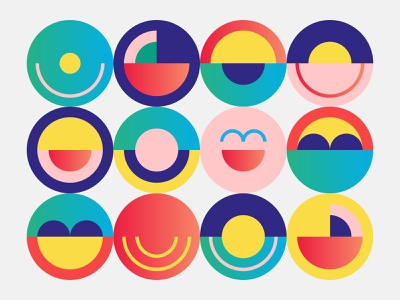 Positive Vibes brand identity branding graphic design colors colorful visual style style graphic style modern design smiles smile circles circle positive positive vibes