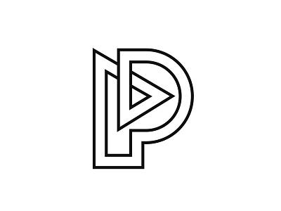Letter P + Play lines lettermark p letter letter p