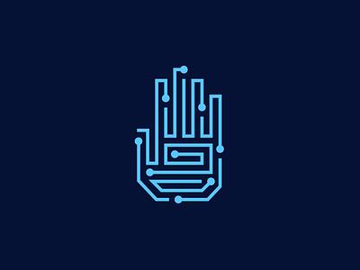 Tech Hand martsvaladze anano lines mark symbol logo technology hand tech