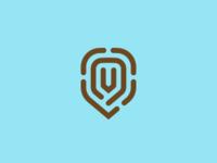 Shield-shaped fingerprint martsvaladze anano safety safe symbol v mark fingerprint shield