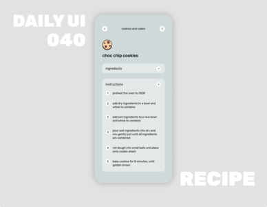 040_Recipe icon typography text app design ios design mobile design recipe interaction menu interaction dropdown ui recipe recipe app day40 dailyui daily100challenge
