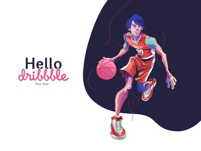 Hello Dribbble digital art art debut flat illustrator flat design flat dribbble first shots illustration art