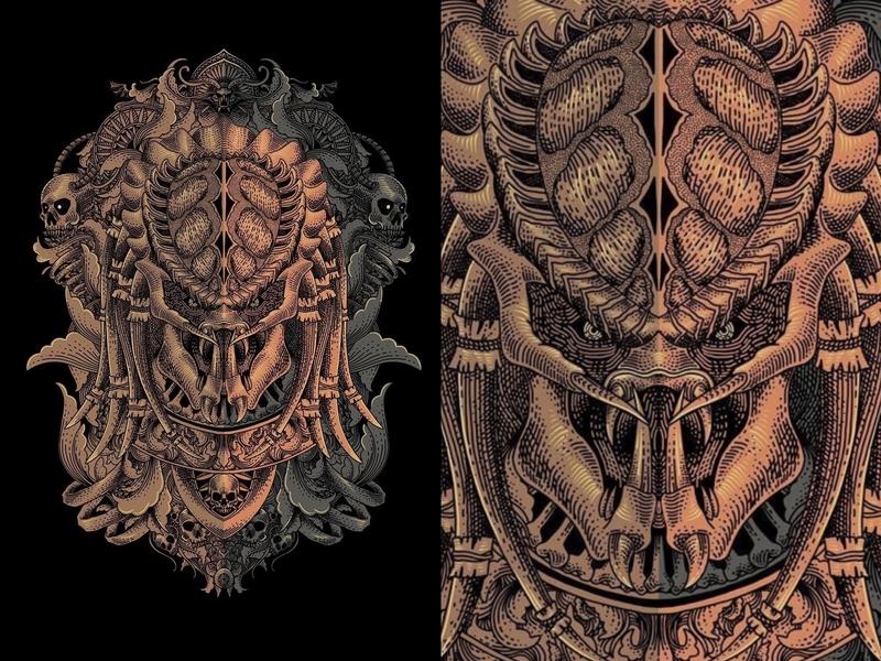 The Predator skull dark art apparel design design character engraving style drawing artwork illustration
