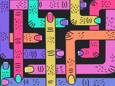 Fingers, slender jointed parts. illustration hairy scratch nail finger pattern graphic design