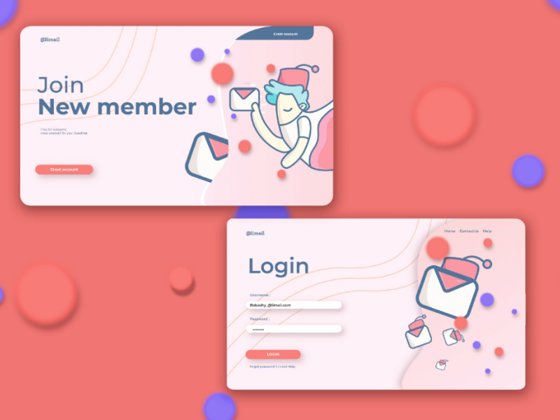 Alimail ui/ux flat illustration flat design design website web illustration flat mail ux ui 2d
