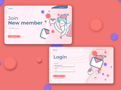 Alimail ui/ux flat illustration