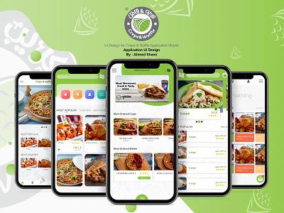 Ui Design for Crepe & Waffle Res. Application Mobile illustration photoshop xd design design app ui branding