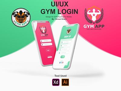 GYM Application Login UI Design fitness fitness app gym app gym branding illustration xd design app ui ux