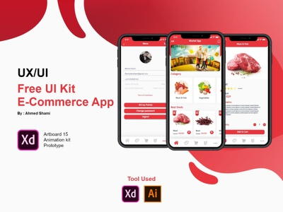 Free UI Kit with Animate E-Commerce Application vector illustration branding animation download xd file free xd design app ux ui