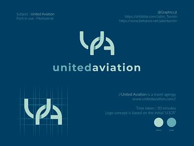 United Aviation Logo Design bookcover bookdesign minimal typography vector logo illustration logo design corporate design minimal design minimal design branding design branding