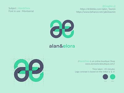 Alan&Elora Boutique shop Logo Design business card flyer design vector illustration logo design corporate design minimal design minimal design branding design branding