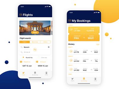 Lufthansa iOS app concept colorful travel mobile