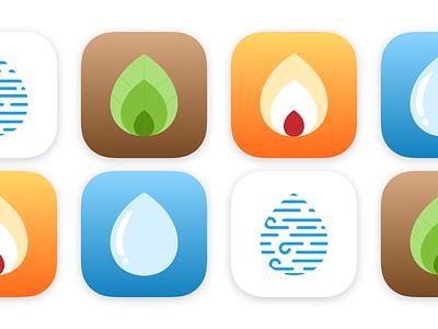 Four Elements Icon Set ios nature app icons