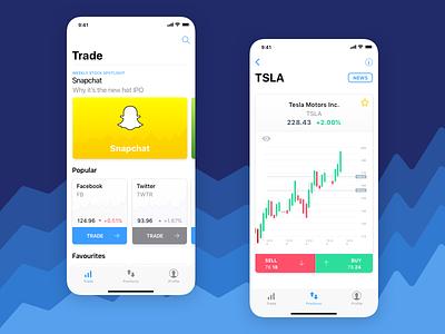 Minimalistic Stock Trading App Concept stock trading mobile app ios