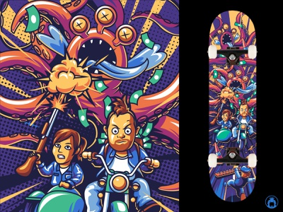 Skateboard design character monster fun cute funny colorful cell shading illustrator vectorart commission illustration vector deck skateboard