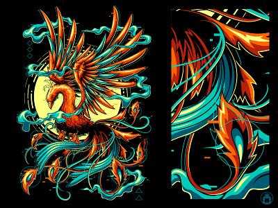 Phoenix t-shirt design vectorart illustrator apparel t-shirt t-shirtdesign illustration vector bird animal mythological phoenix