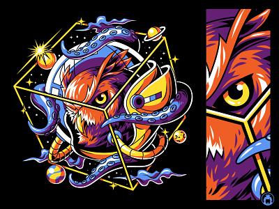 Owl Astronaut space bird animal illustrator illustration t-shirt vector sureal tshirt illustraion astronaut owl