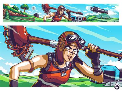 Youtube Banner Design for Hypex battle royal hypex fortnite gaming game vibrant commission design vector illustraion banner youtube
