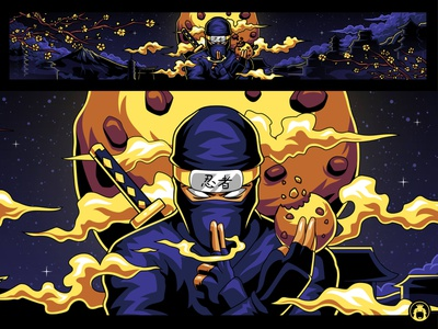 CookieNinja Youtube Banner gaming game youtube channel youtube banner commission vectorart illustration vector illustrator ninja header banner