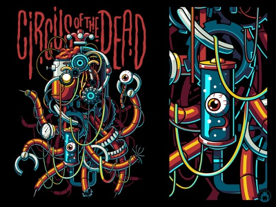 Circus of the Dead illustration vector odd dark punk steampunk gears robot tshirt design creepy weird puppet horror scary spooky merchandise merch tshirt