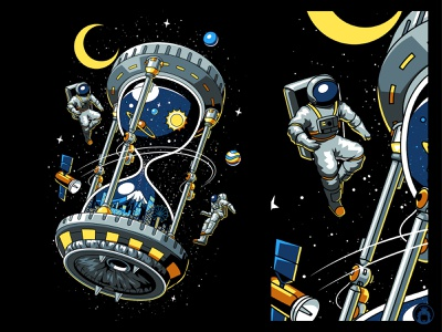 Hourglass Space Station illustrator vectorart apparel merchandise merch tshirt t-shirt t-shirtdesign illustration vector spacex nasa astronaut space station space