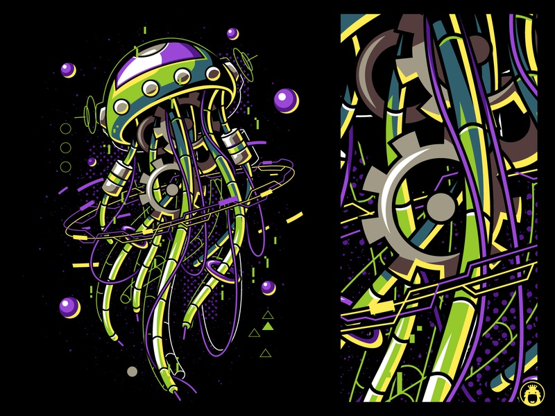 Machine Jellyfish apparel t-shirt vectorart t-shirtdesign illustration vector tee shirt tshirt undersea sea mecha robot jellyfish machine