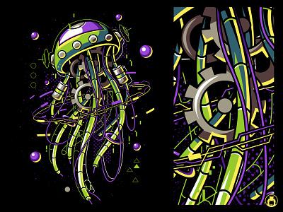 Machine Jellyfish apparel t-shirt vectorart t-shirtdesign illustration vector tee shirt tshirt undersea sea mecha robot jellyfish machine