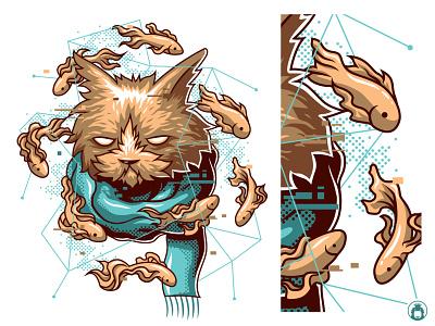 Delusion vectorart illustration illustrator funny animal vector fun cute tshirt design tshirt fish cat
