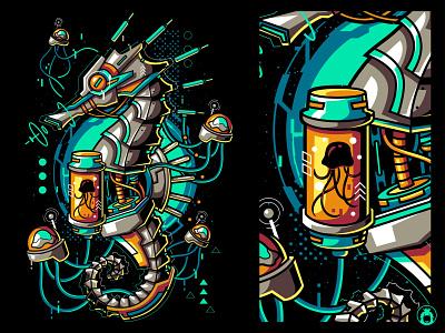 Machine Seahorse vectorart apparel tshirt t-shirt t-shirtdesign illustration vector vibrant horse sea jellyfish robot seahorse machine