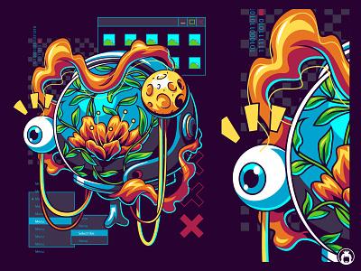 Beuaty Inside computer space astronauts cyber glitch apparel vectorart illustration vector tshirt t-shirt surrealist surrealism surreal flower astronaut
