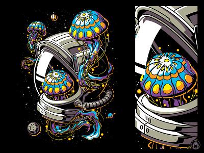 Colorizing Space t-shirt t-shirtdesign vectorart apparel cell shaded astro planet space tshirtdesign illustration vector merchandise merch tshirt vibrant jellyfish astronaut