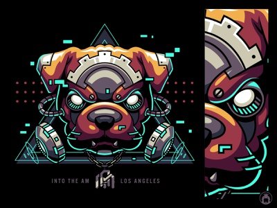 Cyber Bulldog t-shirtdesign t-shirt animal apparel vectorart illustrator commission tshirt design tshirt illustration vector