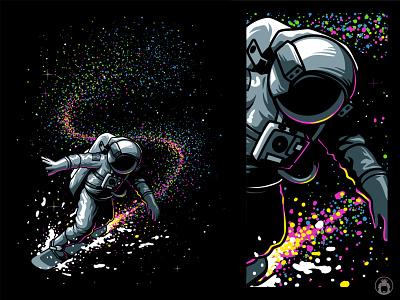 Skiing the space stars space illustrator tshirt design t-shirt tshirt apparel vectorart astronaut illustration vector