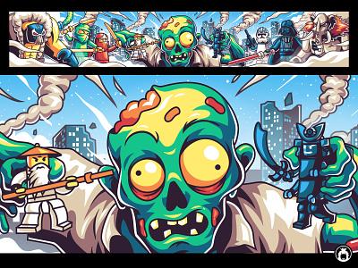 Youtube banner for ApoBieZom channel art star wars lego funny zombie youtube illustrator vectorart vector illustration banner youtube channel youtube banner