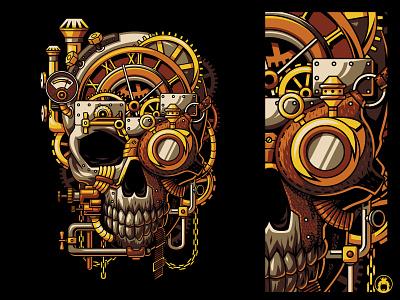 Steampunk Skull skulls machine clothing adobe illustrator illustration wear merchandise merch apparel t-shirt tshirt design tshirt vector skull steampunk