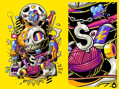 Dopamine surrealism surreal illustration t-shirtdesign t-shirt tshirt vector cat cryptoart crypto