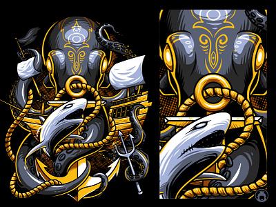 Kraken apparel t-shirt t-shirtdesign kraken octopus screenprint tee tshirt anchor shark wreck ship