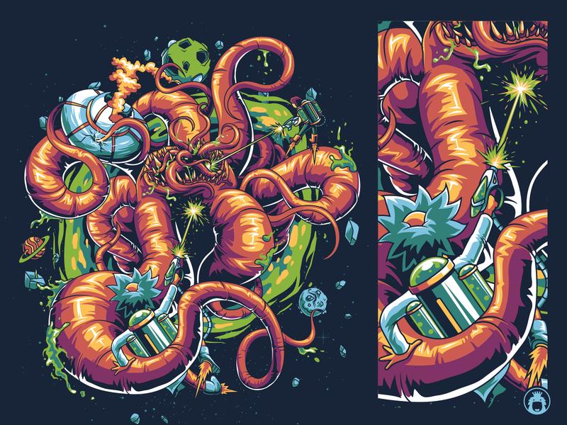 Rick and Morty vibrant vectorart vector t-shirt design t-shirtdesign t-shirt t shirt tshirt tee screenprint rick morty illustrator illustration commission clothing cartoon apparel