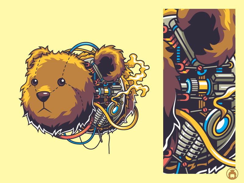 Teddy apparel vectorart vector t-shirtdesign t-shirt illustration drawing droid robot machine doll bear animal