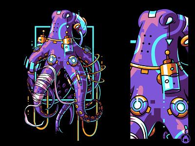 Octopus commission clothing neon robot robotic screen print illustrator urban vectorart animal apparel tshirt t-shirtdesign t-shirt tee illustration vector