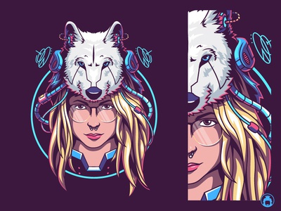 Miss Andie FTW illustration drawing vectorart vector wolf profil banner youtube banner youtube gamer gaming game