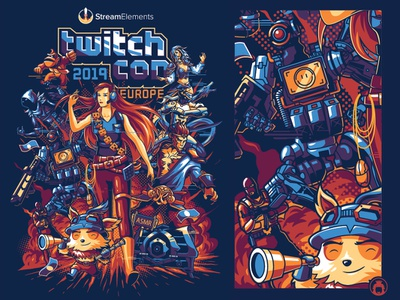 Stream Elements Twitch Con Europe 2019 apparel event t-shirtdesign vectorart commission illustration screenprint vector apex merchandise tshirt t-shirt poster twitch gaming game