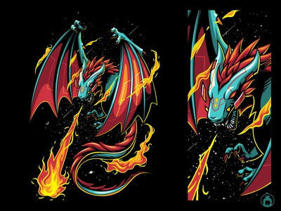 Dragon drawing t-shirt design t-shirt apparel commission illustration vectorart vector space flying wild metal fire dragon