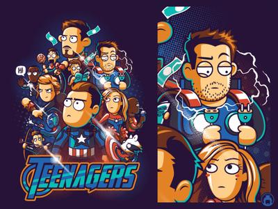 Teenagers t-shirt design tee vectorart vector illustrator apparel t-shirt illustration fan art movie tshirt endgame avengersendgame avengers