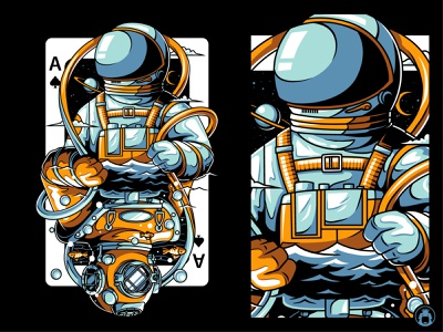 Opposite t-shirtdesign tee commission vector t-shirt illustration shirt tshirt diver palying card spades ace space astronaut card