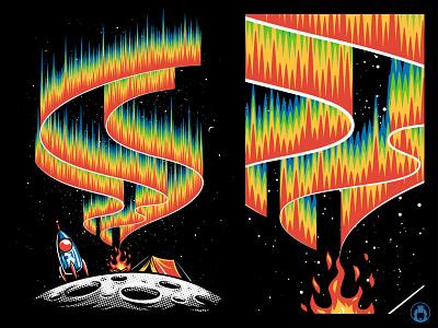Aurora apparel t-shirt design t-shirt t-shirtdesign graphicdesign commission illustration vector camp space aurora moon