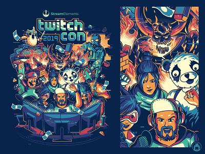 StreamElement TwitchCon 2019 vectorart illustration t-shirtdesign t-shirt vector merchandise merch event poster influencer streamer stream gaming game twitchcon twitch