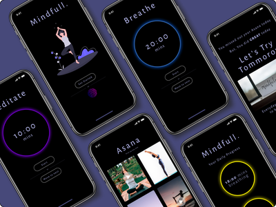 Mental heath mobile App - Mindfull. interactive app ui ux figma onboarding branding illustration adobexd product design design